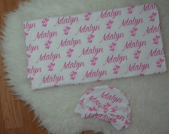 Personalized baby girl heart name swaddle blanket and hat: baby and toddler personalized name newborn hospital gift baby shower gift