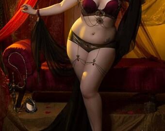Venus bra chaingarter sleeves and knickers set lingerie bellydance tribal