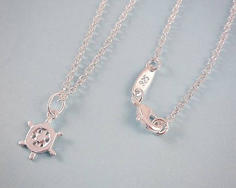 Ships Wheel Necklace | Helm Necklace | Nautical Necklace | Nautical Jewellery | Nautical Jewelery | Mermaid | Sterling Silver | Minimalist