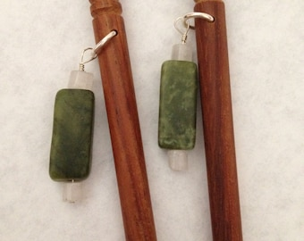 8 inch rosewood ss hair sticks with sterling silver wire wrapped adventurine and quartz beads on each hair stick
