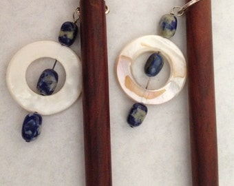 8 inch rosewood ss hair sticks with sterling silver wire wrap shell and lapis beads on each hair stick