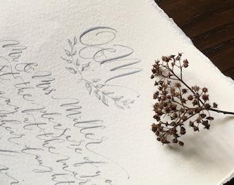 Boho luxe grey ink calligraphy wedding invitation