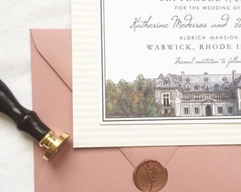 SAMPLE Custom Mansion Wedding Invitations - Mansion Save The Dates - Watercolor Mansion Invitations