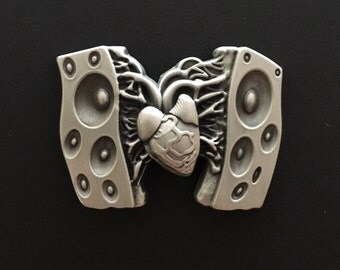 Silver Heart Beat of Sound Pin