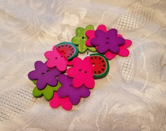 Wooden charms flowers and watermelons