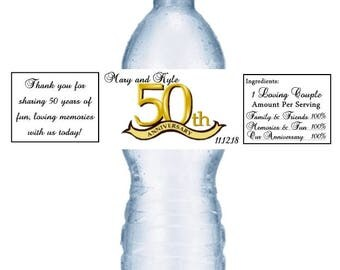 21 50th Anniversary Water Bottle Labels