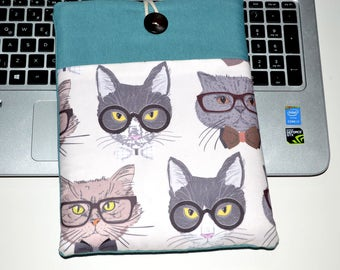 """13 inch Macbook air sleeve, 13'' laptop sleeve with pocket, 13"""" laptop sleeve , Macbook sleeve 13, Laptop Case, Macbook air case- Cute Cats"""