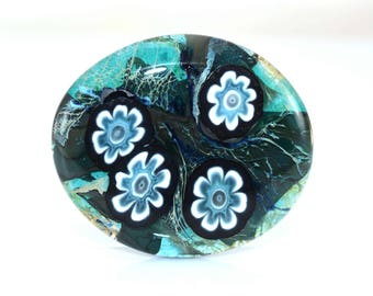 Blue and White Flowers Cab Handmade Lampwork Glass Cabochon - On Sale