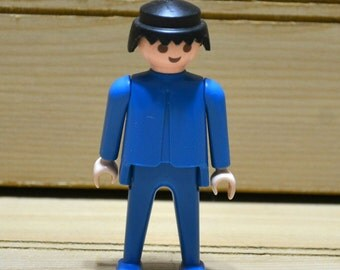 Vintage 1970s Geobra Playmobil Figure Blue Man Kids Children's Toy 1974 Collectible TV Movie Prop