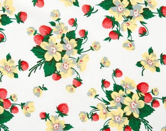 Verna Mosquera, Strawberry Bouquet in Cloud , Quilting Cotton Fabric Canada/ half yard