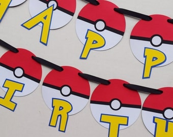 Pokemon Happy Birthday Banner ; Pokemon Birthday Party ; Pokeball Birthday Banner ; Birthday Party Decorations ; Gotta Catch Em All