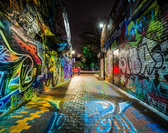 Graffiti Alley at night, at Central Square in Cambridge, Massachusetts. | Photo Print, Stretched Canvas, or Metal Print.