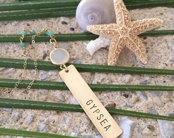 New! Gypsea Vertical Brass Bar Necklace