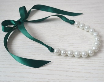 bridesmaid necklace,teal ribbon necklace, white pearl necklace,Ribbon Ties necklace,big white pearl with teal Ribbon ,Glass Pearl Necklace