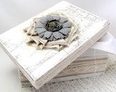 Soft White Box - Decorative Box - Cottage Chic - Flower - Canvas Fringe Kraft Ticking - Lace Trim - Wedding - Keepsake Box - Gift Box