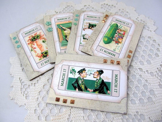 Artist Trading Cards - St. Patrick's Day Cards - Whimsical St. Patrick's Day Cards - ACEO Cards - Set of 5 Artist Cards - St. Paddy's Day