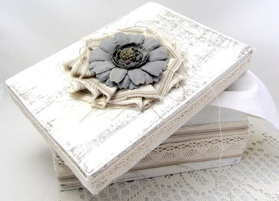 Soft White Box - Decorative Box - Cottage Chic - Flower - Canvas Fringe Kraft Ticking - Lace Trim - Wedding - Keepsake Box - Gift Box