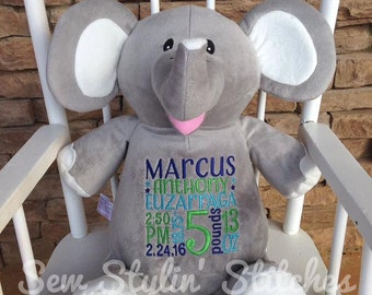 Personalized Stuffed Animal Elephant - Birth Announcement Stuffed Animal- Plush Keepsake- Baby Gift Idea- Monthly Milestone Photo Prop