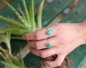 Simple Turquoise Stacking Ring - Sterling Silver