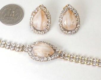 Set Czech hand made Rhinestone Bracelet + Earrings - Kutz-Cz - SIGNED!!!