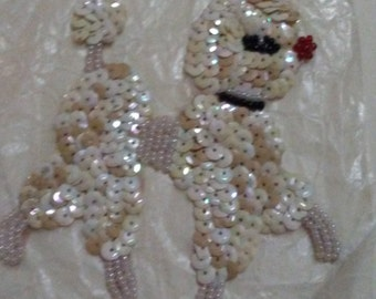 Small Vintage Ivory Sequin Beaded Collar Poodle Applique NOS 1950's Poodle Skirt