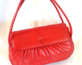1950's Red Leather Double Strap Handbag