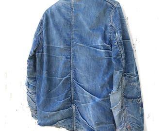 1940s Denim Chore Jacket Blanket Lined 40s Workwear Honeycomb Fade