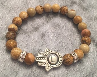 Hamsa with initial, Picture Jasper Beaded bracelet, women's bracelet, gifts for her, Hamsa jewelry, spiritual symbols, protection relics