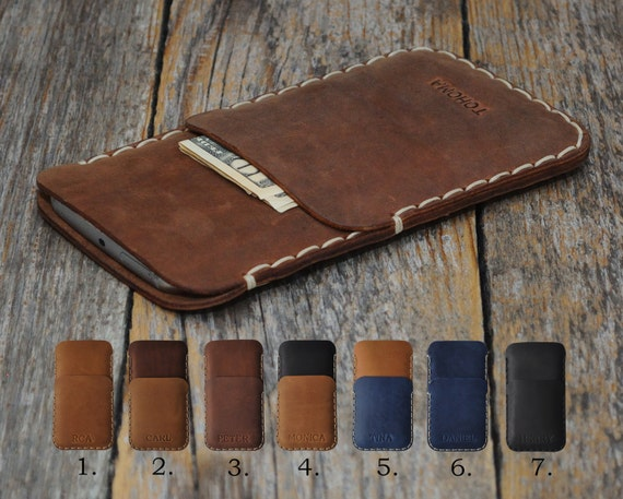 PERSONALIZED ENGRAVED Case. Cover Fits Microsoft Lumia 650 950 XL 550 540 Dual Genuine Leather Pouch Rough Vintage Style Pouch Custom Sizes