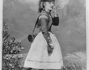 Girl smoking a cigar, B&W Photo Print, Early 1900's