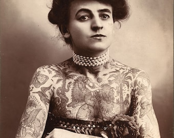 Maud Stevens Wagner, Female Tattoo Artist, 1800's, Tattooed Woman, Circus Performer