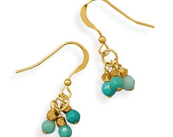 Handmade Gold Filled Triple Drop Earrings with Moss Opal Beads