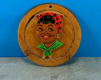 Vintage 1960s African American Black Woman Key Hook Wall Plaque - Made of Wood