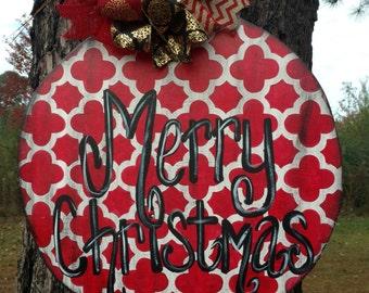 Christmas ornament door hanger, rustic Christmas ornament