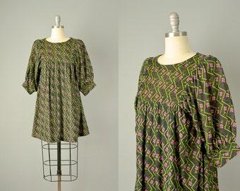 60s Dress // 1960s Abstract Floral Knit Mini Dress // M