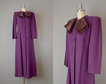 30s Coat // 1930's Purple Wool Tweed Coat w/ Velvet Bow // Medium