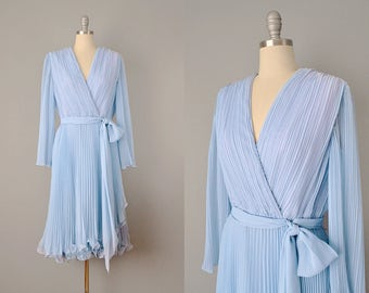 60s Dress // 1960's Deadstock Jack Bryan Powder Blue Pleated Chiffon Dress // Medium