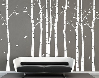 Wall Decals,White Trees Decals, Nature Wall Decals, Vinyl Wall Decal, Nature