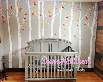 tree vinyl wall decals nursery wall decals children wall sticker nursery room girl bedroom decor-Tree with flying birds wall decal