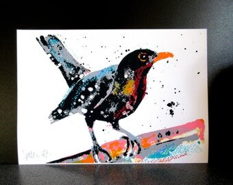 Blackbird. A4 art print from an original painting by Suzanne Patterson. Stylised