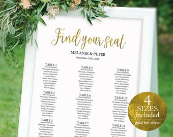 Wedding Seating Chart, Seating Chart Template, Table Plan Printable, Seating Chart Printable, PDF Instant Download, Gold Effect, MM02-3