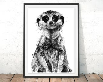 Meerkat Art Print, Meerkat Framed Wall Art, Meerkat Illustration, Meerkat Print, Meerkat Gift for New Home, Meerkat Wall Hanging Art Decor