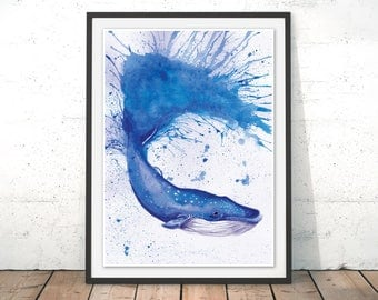 Whale Print, Blue Whale Art, Whale Painting, Home Decor, Blue Whale Art Print, Ocean Print, Sea Painting, Whale Watercolour by Katherine