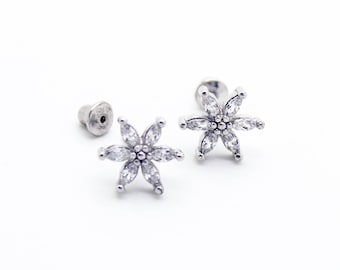 Flower stone .925 sterling silver earrings