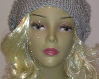Gray Crocheted Slouchy Hat