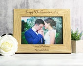 Anniversary Picture Frame  Personalised 5th Anniversary Gift Wood  Anniversary Gifts  Oak Picture Frame  Photo Frame  LC196