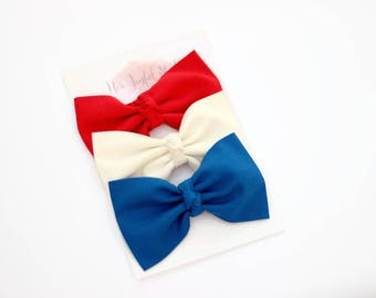 July 4th Hair Bow Set - Hair Bow Set - Baby Hair Bows - Bow Hair Clips - Hair Clips - Hair Bow Set - Hair Bows - Red White and Blue
