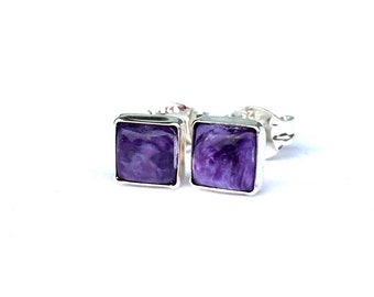 Purple Charoite Stud Earrings .. Square Studs 5mm .. Charoite Earrings .. Handmade Jewelry