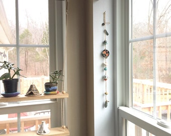 Vertical Beaded Garland Wall Hanging, Ceramic Beads, Jute Rope, Primitive Rustic Decor, Floral Design