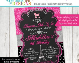 Paris Party Invitation - Girl Party Invitation - Damask - Custom - Printable - French - Parisian